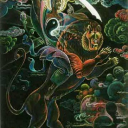 Манджушри он мчится верхом на льве и острым мечом разрубает облака сомнений