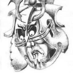 Эскиз головы самурая 2