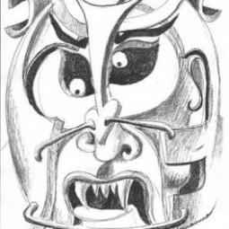 Голова самурая с клыками