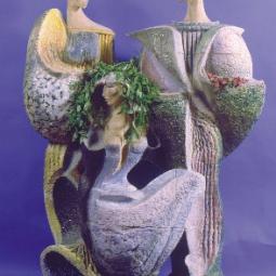Трехфигурная композиция кашпо-светильник