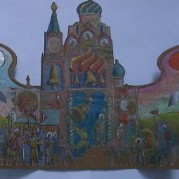 эскиз к бронзовому складню (деталь, левый разворот) Сергий Радонежский 2