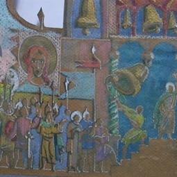 эскиз к бронзовому складню (деталь, левый разворот) Сергий Радонежский 3
