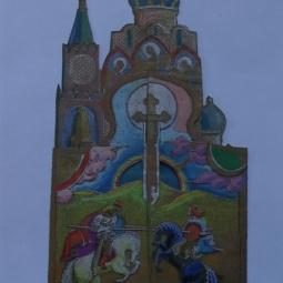 эскиз к бронзовому складню Сергий Радонежский